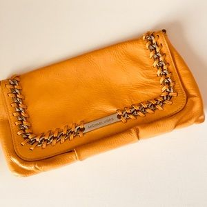 Michael Kors Orange Yellow Chain Clutch Purse Bag